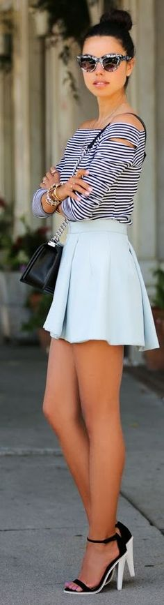 Cameo The Label Light Blue Box Pleated Skirt by Vivaluxury