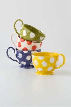 Handpainted tea cups, love the wibbly shape!   Spot-Of-Tea Mugs, Anthropologie.eu