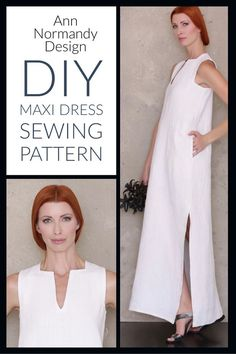 Sew yourself a full length, Maxi Dress with the Ann Normandy Design Maxi Dress Sewing Pattern. Chic and flattering square deep v neck, side vents and pockets. #sewingpatterns, #sewingprojects #sewingideas #maxidresspattern #longdresspattern #dresspattern #annnormandydesign