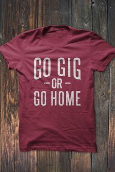 Aggie Fans show off your school pride in this Go Gig or Go Home T-Shirt. Available in white distressed print on red t-shirt.   Our shirts are printed on Bella + Canvas shirts. #bourbonandboots
