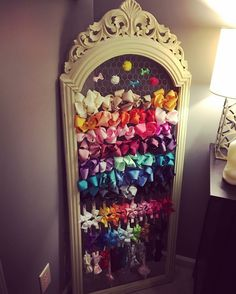 Used an old standing mirror frame and chicken wire for bow and headband storage…. Used an old standing mirror frame and chicken wire for bow and headband storage. This display looks great as decor in my daughter's nursery. Girl Nursery, Girls Bedroom, Bedrooms, Daughters Room, To My Daughter, Standing Mirror, Princess Room, Room Organization, Hair Bow Organization