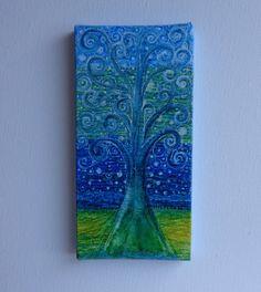 Mini Original Abstract on Canvas 6x3in by HeatherMontgomeryArt, $20.00