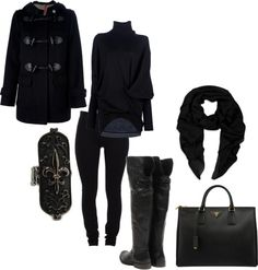 """I do love a good all-black winter outfit"" by mollybanana on Polyvore"