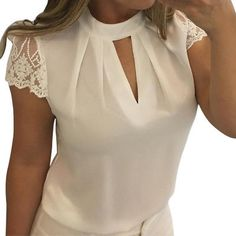 Women Sexy Blouses Summer Casual Hollow Chiffon Short Sleeve Splice Lace Tops Blouse Shirts blusas mujer de moda Plus Size Lace Tops, Chiffon Tops, Lace Blouses, Lace Chiffon, Lace Shirts, White Chiffon, White Silk, Sexy Bluse, Make Up Gesicht