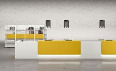 Let your office's contemporary reception desk effortlessly communicate the values of your company and create the tenor for the rest of the workday. Explore our array of modern reception desks including curved and glass reception desks and set your company Curved Reception Desk, Reception Desk Design, Office Reception, Reception Areas, Contemporary Office Desk, Contemporary Design, Reception Furniture, Office Furniture, Medical Office Design