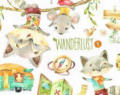 Buy Now Wanderlust Watercolor animals clipart racoon mouse. Clipart, Illustration Mignonne, Cute Illustration, Wanderlust, Racoon, Watercolor Animals, Watercolour, Illustrations, Boy Scouts