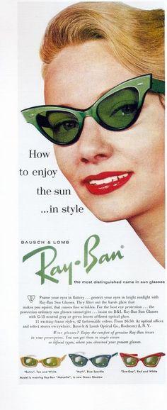 Cat eye sunglasses by Ray Ban. glasses, retro, vintage, pin-up Retro Vintage, Photo Vintage, Mode Vintage, Looks Vintage, Vintage Love, Vintage Style, Vintage Green, Vintage Shoes, Glamour Vintage
