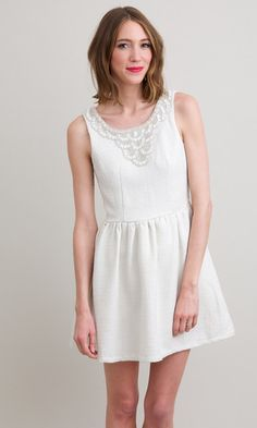 White tweed dress with beaded neckline and bow detail in the back. This charming dress would be perfect for a. Wedding Rehearsal Dress, Rehearsal Dinner Dresses, Rehearsal Dinners, Formal Dresses With Sleeves, Short Dresses, Buy Dresses Online, Little White Dresses, Lovely Dresses, Tweed Dress