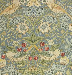 Strawberry Thief Cotton Fabric A classic William Morris floral {something along these lines but more updated}