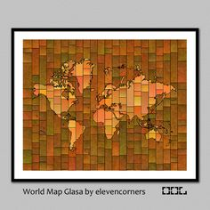 World Map Glasa - a map of the world wall art print by elevencorners - wall decor - brown, green, blue, red, orange, purple by elevencorners on Etsy #elevencorners #mapglasa