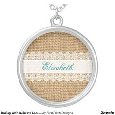 Burlap with Delicate Lace - Shabby Chic Monogram Round Pendant Necklace