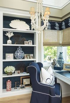 Home Decorating Ideas   Home Office Bookcase, Dark Blue Green Grasscloth  Wallpaper And Coastal Decor. Beautiful, Comfortable And Functional!