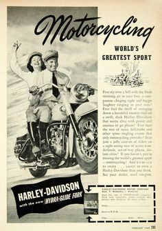Amazon.com: 1949 Ad Harley-Davidson Hydra-Glide Fork Motorcycle Motorbike Enthusiast Riding - Original Print Ad: Home & Kitchen