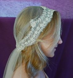 Silk Vintage Cap Veil, Fiona is created in the Roslyn vintage veil shape in Ivory Soft Silk tulle, handkerchief veil shape , length 55 inches, edged with double scalloped flower trim in ivory/gold/champagne beaded.