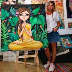 Canvas Painting Tutorials, Acrylic Painting On Paper, Oil Pastel Drawings, Art Drawings Sketches Simple, Indian Art Paintings, Colorful Paintings, Beautiful Paintings, Pintura Zen, Namaste Art
