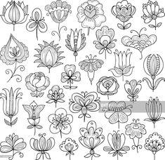 Zentangle/ Doodle Vector image of the set of various flowers doodle. Doodles Zentangles, Zentangle Patterns, Embroidery Patterns, Doodle Patterns, Flower Embroidery, Doodle Art, Doodle Drawings, Mandala Doodle, Zen Doodle