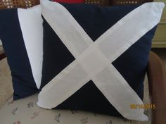 """Nautical flag """"M"""" or """"Mike"""" blue with white cross bars throw pillow 16 x 16 Nautical Flags, White Crosses, Pillow Inserts, Canvas Fabric, Throw Pillows, Cotton, Blue, Etsy, Toss Pillows"""
