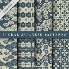 Blue floral japanese pattern