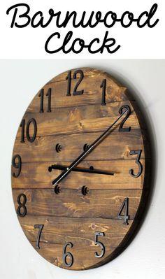 rustic clock, hanging clock, wood clock, barn wood clock, farmhouse decor, home decor, clock, rustic decor