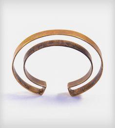 Negative Space Brass Oxidized Cuff Bracelet by MIKINORA