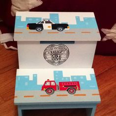Police stepping stool. I purchased from TJ Maxx Home Decor