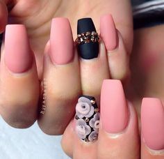 Matte pink & black with 3D flowers & gold rhinestones