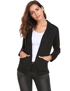 Damen Blazer Cardigan Kurzjacke Lange Arm tailliert mit Taschen Gr.S-XXXL