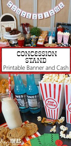 Super Easy and Fast Concession Stand Printable Banner and Cash. Perfect for the next birthday party, school carnival, fundraiser, or LDS General Conference. Conference concessions to keep the little ones busy.