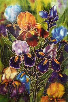 My favourite silk painting of iris I think! by Michele Shute 2005