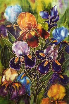 My favourite silk painting of iris I think! by Michele  Shute 2005