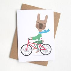 Rabbit Card Easter Card Bunny Card Rabbit on Bicycle Card Just for you Card Romantic Card Illustrated Card Contemporary Card A6 (2.25 GBP) by RosalindMaroney