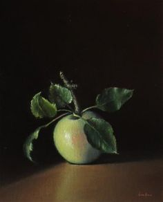 """Daily Paintworks - """"Still Life with Apple"""" - Original Fine Art for Sale - © Darla McDowell"""