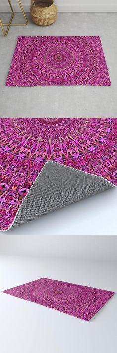 Hot Pink Floral Mandala Rug by David Zydd #MandalaRug #BestRugs #MandalaDecor #Hot #Design (tags: bohemian, mandala design, bohemian home, interior, meditation, floral, garden, mandala decoration, decor, bloom, apartment, mandala home decoration, artwork, yoga, room, mandala, mandala artwork) Mandala Pattern, Mandala Design, Geometric Mandala, Bohemian Room, Boho, Bohemian Decor, Mandala Artwork, Floral Artwork, Pink Garden