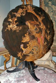 papier mache furniture   Fabulous French Papier Mache Table from antiquingwithpamela on Ruby ...