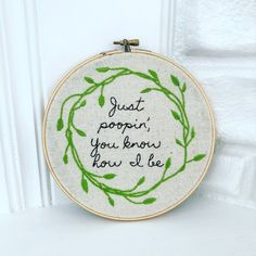 Just Poopin Modern Funny Hand Embroidery Hoop Wall Art Gift Under 40 - Hand Embroidery Stitches Funny Embroidery, Embroidery Bags, Embroidery Patterns Free, Modern Embroidery, Embroidery For Beginners, Embroidery Hoop Art, Hand Embroidery Designs, Cross Stitch Embroidery, Wall Art