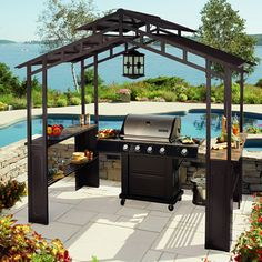 Gazebo | ... Home Outdoors Aluminum Hardtop Grill Gazebo w LED Chandelier | eBay