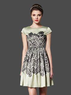 A-line Round Neck Print Vintage Pleated Dress : KissChic.com