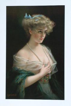Semi Nude Woman Victorian Lady Art Print Bernard Zickendraht Girl | eBay