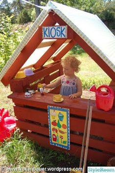 Outdoor Fun For Kids Backyard Playground Outside Playhouse, Pallet Playhouse, Playhouse Outdoor, Outdoor Play Spaces, Outdoor Fun, Outdoor Pallet, Kids Play Area, Backyard Playground, Backyard For Kids
