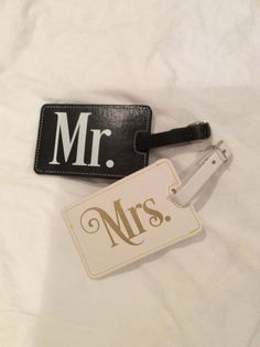 Mr and Mrs Luggage Tags Luggage Tags bride and by MonogramBelle