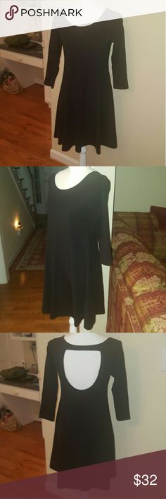 """Black BB Dakota flowy long sleeve dress size S/M Beautiful black flowy BB Dakota 3/4 sleeve dress. Excellent condition! Tag says size small but would also easily fit a medium.  This seems to run big for a small! Waist is 16"""" across.  Cute for all seasons and occasions. BB Dakota Dresses Mini"""