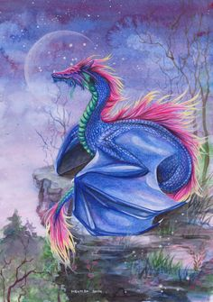 Rainbow Dragon by In-The-Distance on DeviantArt Magical Creatures, Fantasy Creatures, Fantasy Drawings, Fantasy Art, Wolf Drawings, Dragon Dreaming, Beautiful Dragon, Dragon Artwork, Ange Demon