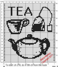 This is a Free filet crochet curtain pattern with classic tea icons: a pot, a cup, a tea bag. Great for your next tea party! Free Cross Stitch Charts, Filet Crochet Charts, Crochet Motifs, Crochet Patterns, Crochet Curtain Pattern, Crochet Curtains, Fair Isle Chart, Cross Stitch Kitchen, Crochet Kitchen