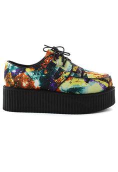 Galaxy Print Creeper Platforms Shoes #creepers #shoes #platforms