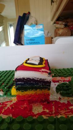Rainbow lego cake