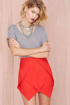 Jagged Little Frill Skirt - Red | Shop Back In Stock at Nasty Gal