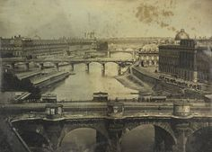 19th-century travel: View  on the River Seine, Paris, 15 May  1843
