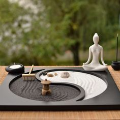 Create your own inner peace or just idle away a few moments with our table top zen garden. Includes everything to make your little haven of peace. #Jardinzen