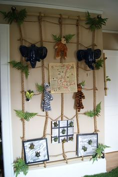 jungle bedroom display with rope bamboo and jellycat toys- my daughter already has the zebra Safari Room, Safari Nursery, Safari Theme, Jungle Theme, Animal Bedroom, Jungle Bedroom, Kids Bedroom, Panda Party, Deco Jungle