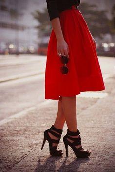 Full red + Mid-length skirt